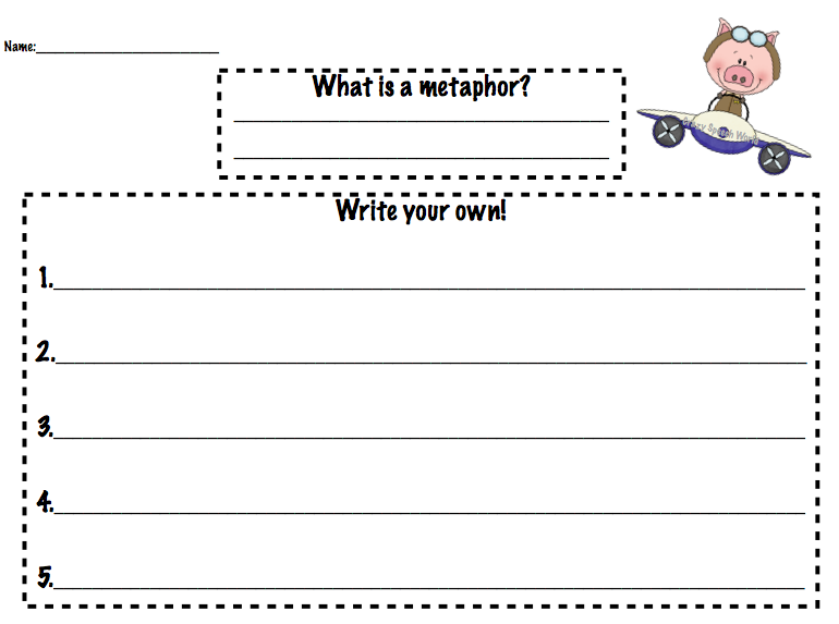 Flying Pigs Figurative Language – Metaphors Worksheets