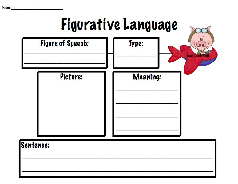 Flying Pigs Figurative Language – Figures of Speech Worksheet