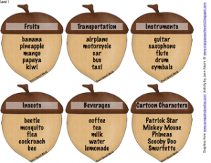 Acorn Categories Freebie!