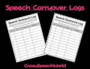 Speech Carryover Logs {FREEBIE!}