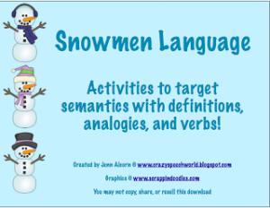 Snowmen Language Activities!