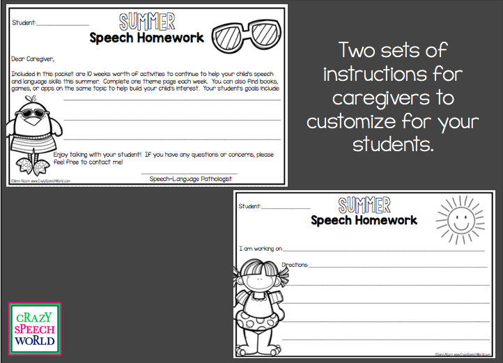 Crazy Speech World:  Summer Speech Homework
