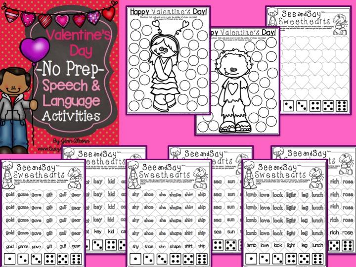 Valentine's Day No Prep for Speech Therapy
